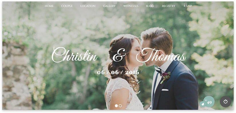 Wedding – одностраничная тема свадебной тематики