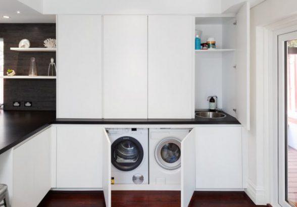 Стиральная машина на кухне: дизайн, установка и подключение